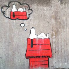 """Living my dream"" #streetart #art #grafitti #gatukonst #snobben #snoopy by musseekstrom"