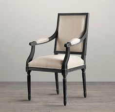Restoration Hardware - french black linen armchair   Vintage French Square Upholstered Armchair   Fabric Arm & Side Chairs ...