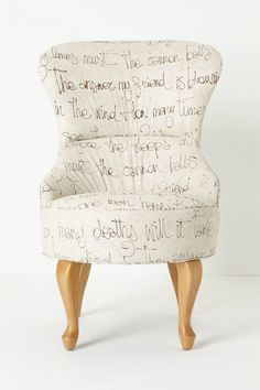 Archibald Chair, Egoiste via Anthro Love the chair. Love the text. Get in my house, chair.