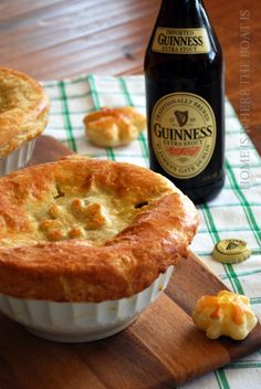 Beef and Guinness Pot Pies! A celebration in a bowl with puff pastry shamrocks for St. Patrick's Day! I made Beef and Guinness Pot Pies a couple of weeks ago and put a couple in the freezer in ant… Irish Recipes, Pie Recipes, Yummy Recipes, Chicken Recipes, English Recipes, Scottish Recipes, Lamb Recipes, Pastry Recipes, Simple Recipes