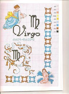 Borduurpatroon Sterrenbeeld Kruissteek *X-Stitch Pattern Zodiac ~Serie 3-9: Maagd 24-08/23-09 *Virgo~