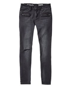Jean skinny noir à effet usé