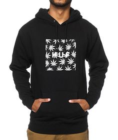 Stay warm and comfortable with a thick soft fleece lined design with a weed leaf print HUF box logo chest graphic for dope style.