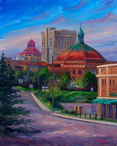 "Oil painting ""Down Charlotte Street"" in Asheville, NC by Jeff Pittman"