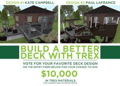 Enter the Build a Better Deck with Trex Sweepstakes for the chance to win $10,000 in Trex materials for a brand new deck!