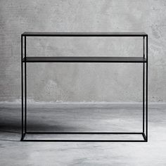A modern and sleek black metal console table that will look amazing in almost any interior design scheme. Hallway Table Decor, Hallway Console Table, Iron Console Table, Narrow Table, Minimalist Room, Iron Decor, Steel Furniture, Home Decor Items, Black Metal