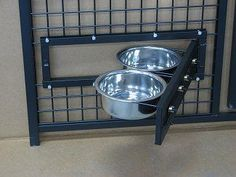 Dog Kennel Feeders by Options Plus Dog Kennels. Swing out food and water bowls. These are an excellent idea for kennels who handle dogs with food aggression. Shelter Dogs, Animal Shelter, Dog Boarding Kennels, Dog Kennels, Dog Kennel Designs, Kennel Ideas, Pet Hotel, Dog Cages, Dog Rooms