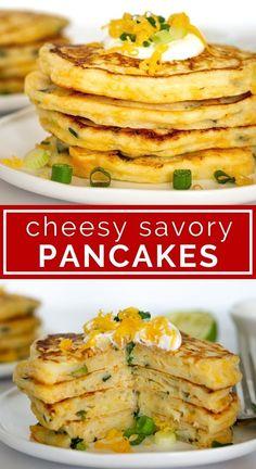 Pancake Fillings, Savoury Pancake Recipe, Savory Pancakes, Pancakes Easy, Pancakes And Waffles, Savory Snacks, Easy Pancake Recipe For Kids, Pancake Ideas, Whole Wheat Pancakes