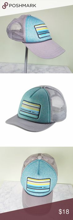 Patagonia Kids' Interstate Trucker Hat Patagonia. Authentic. Kids - Boys.  Interstate Hat - Trucker Cap. High-crown, 5-panel. Photo-front design. Gray mesh back. Moisture-wicking headband. Adjustable snaps in back to customize fit. Blue green front (a little more green than the image shows.)  Overall great condition. Does have some sweat marks on the front inside headband. Patagonia Accessories Hats