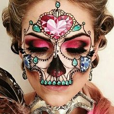 Beautiful Sugar Skull - Day of the Dead Halloween makeup look - IG: the_wigs_and_makeup_manager