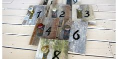 DIY Rustic Wedding Table Numbers. Don't need them for wedding tables but would be cute anywhere. On the wall. On a shelf.