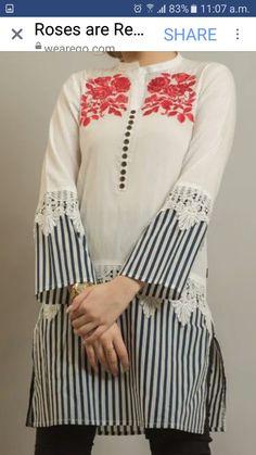 Kurti Sleeves Design, Kurta Neck Design, Sleeves Designs For Dresses, Dress Neck Designs, Blouse Designs, Stylish Dresses For Girls, Stylish Dress Designs, Pakistani Dresses Casual, Pakistani Dress Design