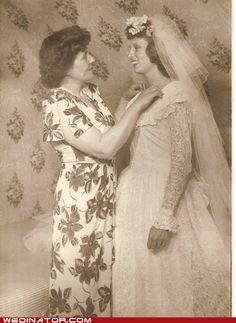 Bride with her mother, 1946.