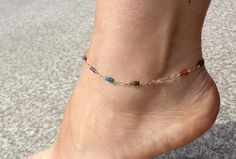 7 Chakras Gemstone Anklet Reiki blessed gemstones Sapphire, 14 k Gold filled, yoga jewelry wire wrapped, boho jewelry, reiki infused rainbow - pinned by pin4etsy.com