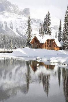 Snowy cabin, makes me want to curl up in front of the fire with a good book!