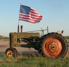 American life - farming - tractor - American flag - love this picture! American Spirit, American Pride, American Flag, American Soldiers, I Love America, God Bless America, America 2, Country Life, Country Girls