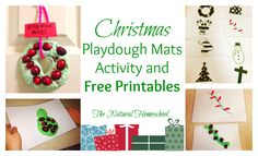 These are cards that you can print to use as play dough mats to use as holiday templates.