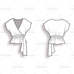 Fashion flat vector template of wrap blouse with V-neck and short sleeves. Fastens at the side with a bow.