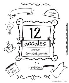 Step by step how to instructions on 12 clever and fun doodles. Be creative and learn how to doodle efficiently for your Bullet Journal.