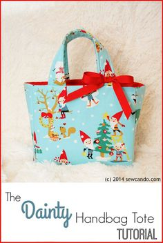 Sew Can Do: The Dainty Handbag Tote.  Easy DIY bag how-to with built-in pockets and magnetic class.  No pattern required!