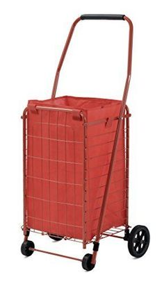 Shopping Cart 66 lbs Wheels Liner Grocery Laundry Folding Seniors Bag Home Red #Sandusky