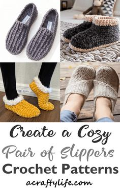 13 Crochet Slipper Patterns – Great Cozy Gifts - A Crafty Life Loom Knitting Patterns, Crochet Patterns, Knitting Tutorials, Free Knitting, Stitch Patterns, Crochet Boots, Crochet Clothes, All Free Crochet, Crochet Granny