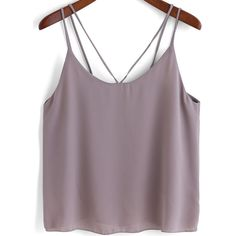 SheIn(sheinside) Grey Double Spaghetti Strap Chiffon Cami Top ($8.99) ❤ liked on Polyvore featuring tops, crop top, tanks, grey, grey tank, cami crop top, chiffon top, cami tank tops and camisoles & tank tops