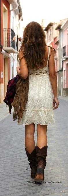 ☮ American Hippie Bohemian Style ~ Boho Lace dress, cowboy boots, fringe bag!