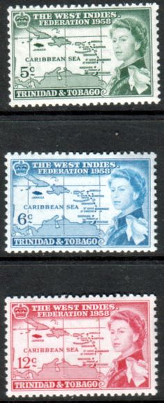 Trinidad and Tobago 1958 B W I Federation Set Fine Mint SG 281 - 283 Scott 86 - 88 Other Trinidad Tobago Stamps HERE