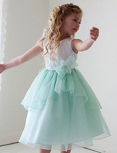 White & Mint Flower Girl Dress ♥ Satin & Organza Girls Party Dress Size 2 to 12
