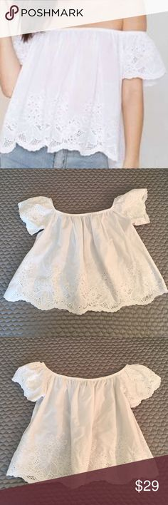 Nasty Gal Eyelet Off Shoulder Poplin Top In the silhouette and fabrics of summer this top is a stunner. It's in extremely good condition having been worn just once! Nasty Gal Tops