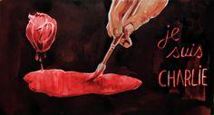 1. Op deze afbeelding is een hand te zien die een rode vlek aan het schilderen is en er staat je suis charlie bij. De rode vlek staat voor bloed. Er is namelijk een aanslag geweest in parijs waar mensen om zijn gekomen en nu zijn die mensen in strijd voor de vrijheid.
