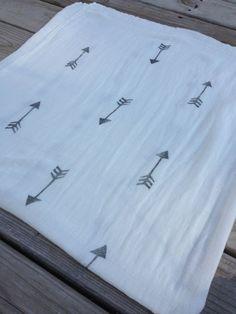 Bamboo Muslin Swaddle Blanket Hand Stamped Black by WeeVintageBaby, $29.50
