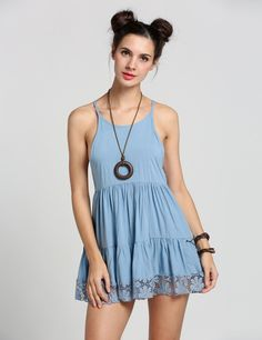 Lace Backless Waist Pleated Solid Casual Dress