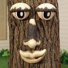 Face - garden ideas for tree stumps Tree Logs, Tree Stumps, Trees, Garden Inspiration, Garden Ideas, Tree People, Cement Art, Tree Faces, Garden Of Earthly Delights