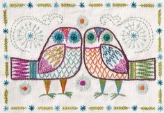 Intricate Embroidery Kits and Printables by Nancy Nicholson Shabby Chic Embroidery, Bird Embroidery, Hand Embroidery Stitches, Cross Stitch Embroidery, Embroidery Patterns, Machine Embroidery, Indian Embroidery, Bordado Popular, Needlework