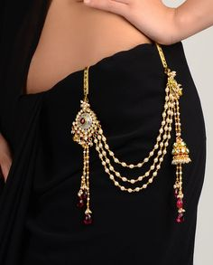 """Ethnic waist charm (kandora) cum keys holder. Not only this adds to the charm of an ethnic attire, but if it is heavy enough (<100gms) & the hook is 3"""" long & 1"""" wide (approx) & it is inserted about 1.5 to 2"""" apart from the center line of the body, the hook activates acupressure points related to the throat, and acts to keep it clear of phlegm, so that the voice remains clear, & becomes easier to clear if required. It's a boon for women who need to clear their throat frequently."""