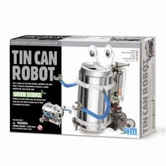 Create your very own walking robot with Tin Can Robot! A great project for any family or science enthusiast, this kit includes instructions and the parts to make your creation. Requires two AAA batteries (not included). Recommended for ages Tin Can Robot Robot Kits, Diy Robot, Science Kits, Science Projects, Science Store, Science Museum, Science Ideas, Tin Can Robots, Transformers