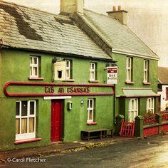 Ballyferriter, Dingle Peninsula, Ireland - Fine Art Photography Print - - Gaeltacht - County Kerry -Green - Red -Home Decor Ireland Uk, Images Of Ireland, Ireland Travel, Northern Ireland, Dublin, Guinness, Ireland Bed And Breakfast, Red Home Decor, Irish Cottage