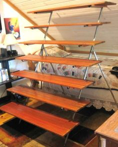 ***awesome wood 7 shelf display shelving unit 5' x 5' $55
