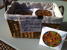 M & M Cookies for the school fete individually wrapped in paper CD covers- very chuffed with the result!