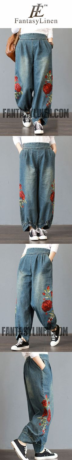 FANTASYLINEN PLUS SIZE EMBROIDERY JEANS, LITERARY ROSE LOOSE PANTS P3012
