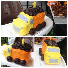 Dump Truck Smash Cake - Boy First Birthday Party! 9x13 cake cut into 3 equal rectangles, stacked, cut and frosted. Tip: stack and shape cake, then freeze before frosting!