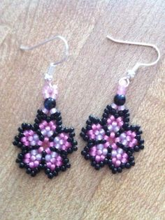 Seed beads flower earrings made by  Christy Jones from LC.Pandahall.com