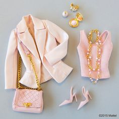 The colours of these clothes and accessories inspired me for when I was coming to picking and finding an outfit for my barbie design. Barbie Style, Barbie Dress, Barbie Clothes, Barbie Outfits, Pink Barbie, Moda Barbie, Accessoires Barbie, Barbie Wardrobe, Barbie Doll Accessories
