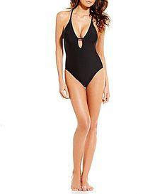 efe52e2b27 Gianni Bini Solid Plunging VNeck One Piece #Dillards Gianni Bini, Dillards,  Swimwear Cover