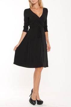 lily inc Faux Double Wrap Dress In Black Solid -
