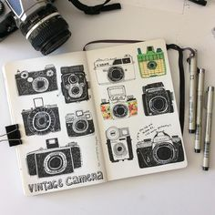 My belated entry to #IFDrawAWeek #IFDrawAWeek10 Vintage Camera I took out my vintage camera that I bought when I was in university. My old Nikon F1. There are so many beautiful vintage cameras I wish digital cameras able to take their form... #doodle #sketchbook #drawing #vintage #vintagecamera #moleskine by hee_cookingdiary