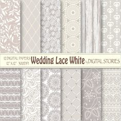 Wedding Lace Digital Paper WEDDING LACE WHITE by DigitalStories, €2.80