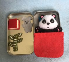 Lil' Maties - panda bear - red bed set in tin by MatiesMeadow on Etsy https://www.etsy.com/listing/232148261/lil-maties-panda-bear-red-bed-set-in-tin